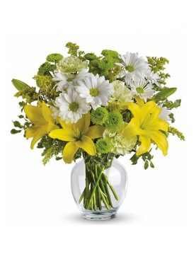 Glass Vase of Mix Flowers For Mother