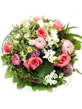 Round Handle Basket of Mixed Roses