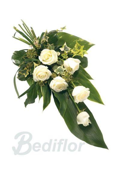 Ramo Funerario 6 Rosas Blancas Urgente Tanatorio