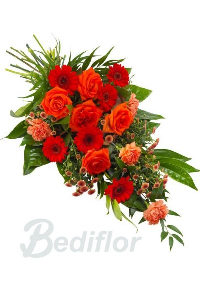 Ramo Funerario Rojo Naranja Tanatorio Envio Urgente
