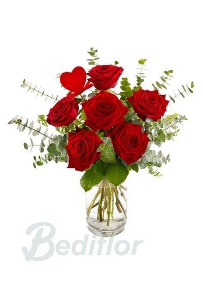 Rosas 6 Rojas Regalo Amor Domicilio