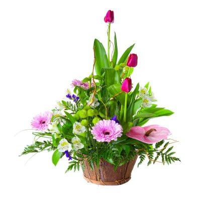 Enviar cesta flor rosada