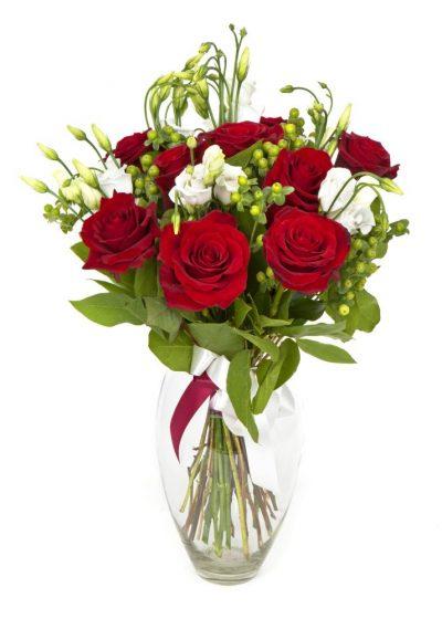Enviar 9 Rosas Rojas con Lisianthun para San Valentín