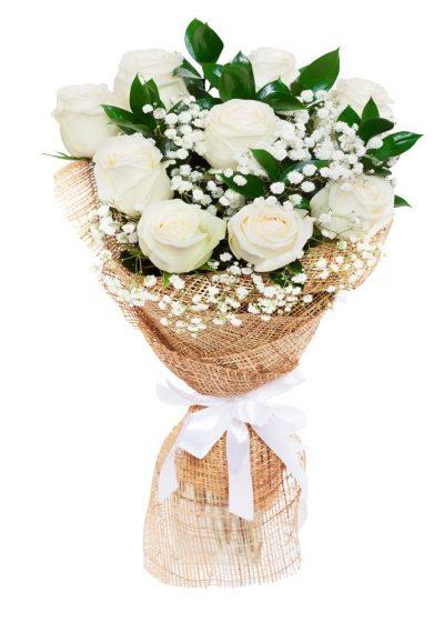 Ramo 9 Rosas Blancas para San Valentín
