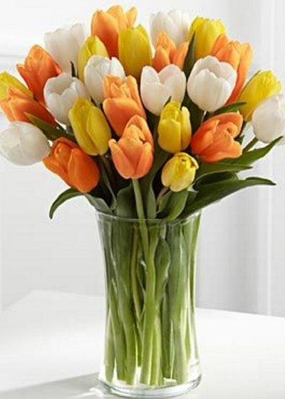Jarron tulipanes naranjas